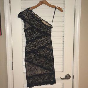 Bebe black lace one shoulder dress size small